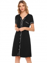 Black Short Sleeve Comfort Contrast Color Nightgown Sleepwear Pajamas