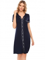 Navy blue Short Sleeve Comfort Contrast Color Nightgown Sleepwear Pajamas
