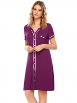 Purple Short Sleeve Comfort Contrast Color Nightgown Sleepwear Pajamas