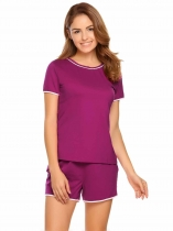 Purple Contrast Trim O-Neck Short Sleeve Top and Shorts Pajama Set