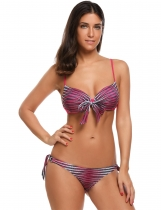 Rose red Printed Spaghetti Strap Striped Bikini Set Swimwear