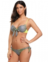 Yellow Printed Spaghetti Strap Striped Bikini Set Swimwear