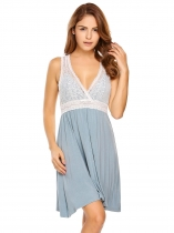 Light blue Deep V-Neck Pleated Lace Patchwork Nightgown
