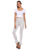 Light gray Skinny High-waisted Breathable Elastic Sports Ygoa Pants