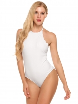 Women Sexy Solid One Piece Padded Backless Halter Swimsuit