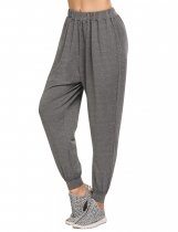 Dark gray Solid High Waist Casual Sports Harem Pants