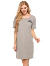 Grey Casual O-Neck Short Sleeve Print Pocket Mini Nightgown