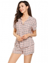 Apricot Short Sleeve Button Down Pocket Pajama Set Sleepwear