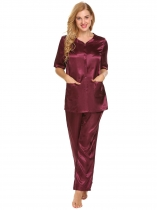 Wine red Women Solid Satin Pajama Half Sleeve Shirt Long Pj Pant Set