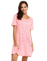 Pink O-Neck Short Sleeve Star Print Nightgown with Pocket
