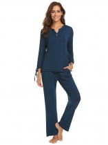 Dark blue Women Solid V-Neck Long Sleeve Tops Elastic Waist Sleepwear Sets with Eye Mask