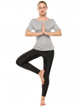 Gray Solid Ruched Half Sleeve Drawstring Back Breathable Yoga Top