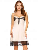 Beige Spaghetti Strap Lace Patchwork Slim Nightgown