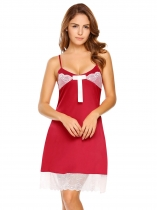 Red Spaghetti Strap Lace Patchwork Slim Nightgown