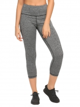 Grey Elastic Waist Stitching Patchwork Yoga Pants