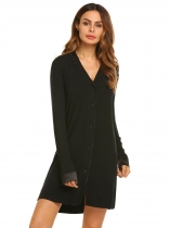 Black Womens Classic Long Sleeve Pajamas Satin Patchwork Nightgown Sleepwear Button-down Sleep Shirt Dress