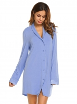 Blue Womens Classic Long Sleeve Pajamas Satin Patchwork Nightgown Sleepwear Button-down Sleep Shirt Dress