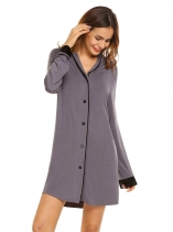 Gray Womens Classic Long Sleeve Pajamas Satin Patchwork Nightgown Sleepwear Button-down Sleep Shirt Dress