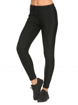 Black Solid Elastic Waist Ankle Length Slim Yoga Pants