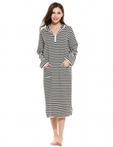 Black Casual Hooded Long Sleeve Striped Lounge Dress Nightgown