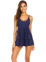 Navy blue Women Scoop Neck Solid Layered Ruffles Swimdress & Swim Shorts Swimwear