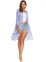 Blue 3/4 Sleeve Floral Front Open Side Split Long Kimono
