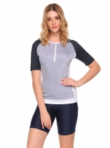 Light gray Raglan Short Sleeve Sport Gym Fitness T-Shirt