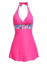 Pink Halter Sleeveless Padded Elastic Patchwork Tankini Swimsuit