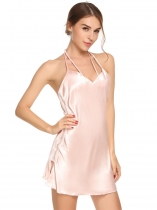 Misty Rose Sleeveless Satin Lace Patchwork Split Backless Nightgown