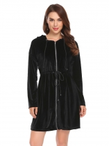 Black Women Velvet Long Sleeve Hooded Sleepwear Robe