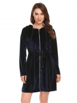 Navy blue Women Velvet Long Sleeve Hooded Sleepwear Robe