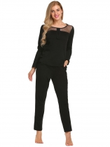 Black Long Sleeve Patchwork Tops and Pants Pajamas Sets
