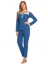 Blue Long Sleeve Patchwork Tops and Pants Pajamas Sets