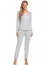 Gray Long Sleeve Patchwork Tops and Pants Pajamas Sets