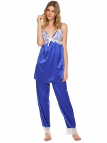 Blue Women Strap V-neck Lace Pyjamas en patchwork Ensemble de pyjamas vrac avec pantalons