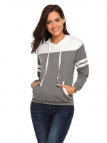 Grey Long Sleeve Hooded Patchwork Loose Hoodie