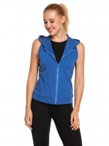 Royal Blue Sleeveless Hooded Zipper Running Sports Outwear Vest