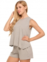 Grey Solid V-Neck Sleeveless Tops with Elastic Waist Shorts Sports Sets