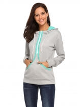 Grey Long Sleeve Hooded Thick Loose Pockets Hoodie