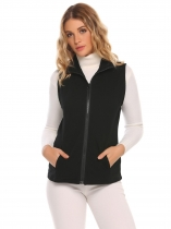 Black Stand Collar Sleeveless Solid Front Zipper Vest with Pockets