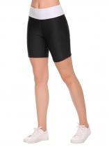 Black Elastic Waist Stitching Patchwork Yoga Shorts