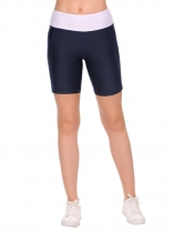 Dark blue Elastic Waist Stitching Patchwork Yoga Shorts