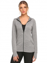 Dark gray Hoodie Long Sleeve Stitching Zipper Pocket Coat