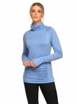 Blue High Neck Long Sleeve Ruched Fitness T-Shirt