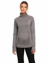 Gray High Neck Long Sleeve Ruched Fitness T-Shirt