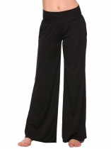 Black Solid Yoga Sport Elastic Waist Wide Leg Pants