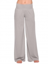 Gray Solid Yoga Sport Elastic Waist Wide Leg Pants