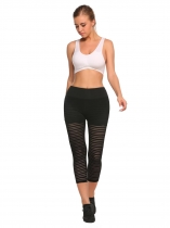 Black False Two Pieces Mesh Patchwork Elastic Workout Tights Leggings