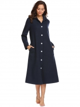 Navy blue Nightgown Long Sleeve Button Robe Sleepwear with Pockets