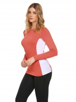 Pink O-Neck Long Sleeve Patchwork Basic Sun Protection T-Shirt
